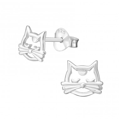 Cat - 925 Sterling Silver Plain Ear Studs A4S26995