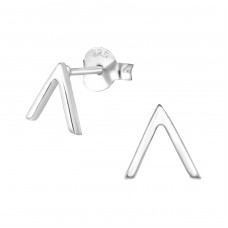V - 925 Sterling Silver Plain Ear Studs A4S27005