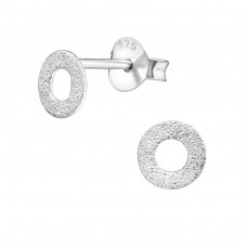 Round - 925 Sterling Silver Plain Ear Studs A4S27202