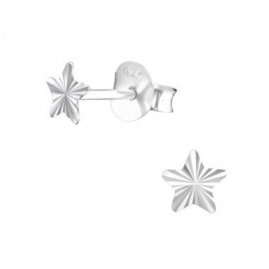 Star - 925 Sterling Silver Plain Ear Studs A4S27287