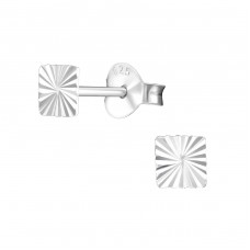 Square - 925 Sterling Silver Plain Ear Studs A4S27302