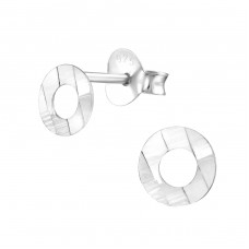 Circle - 925 Sterling Silver Plain Ear Studs A4S27358