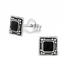 Square - 925 Sterling Silver Plain Ear Studs A4S27468