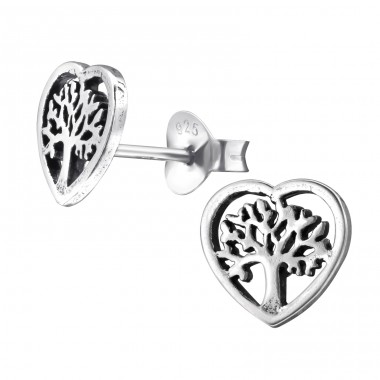 Tree Of Life - 925 Sterling Silver Plain Ear Studs A4S28252