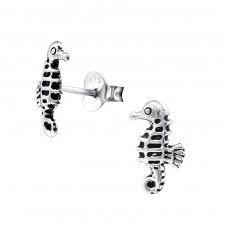 Seahorse - 925 Sterling Silver Plain Ear Studs A4S28274