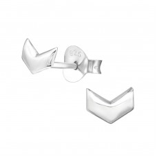 Chevron - 925 Sterling Silver Plain Ear Studs A4S28614