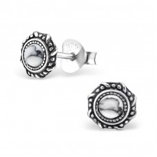 Round - 925 Sterling Silver Plain Ear Studs A4S28756