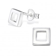 Square - 925 Sterling Silver Plain Ear Studs A4S29003