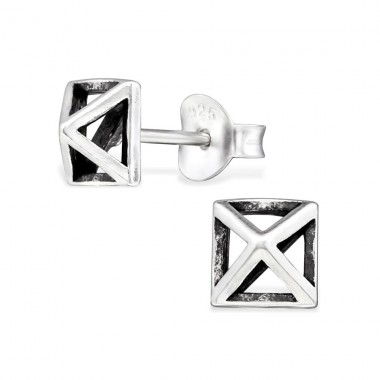Square - 925 Sterling Silver Plain Ear Studs A4S29007