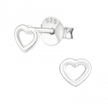 Heart - 925 Sterling Silver Plain Ear Studs A4S29101
