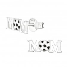 Football Mom - 925 Sterling Silver Plain Ear Studs A4S29356