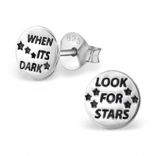 When Its Dark Look For Stars - 925 Sterling Silver Plain Ear Studs A4S29363