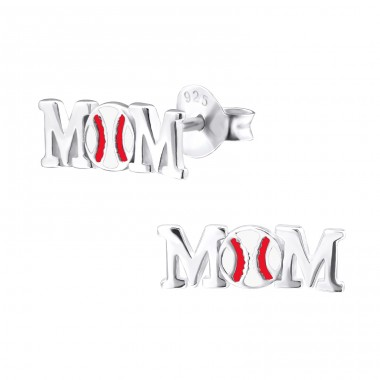 Baseball Mom - 925 Sterling Silver Plain Ear Studs A4S29605
