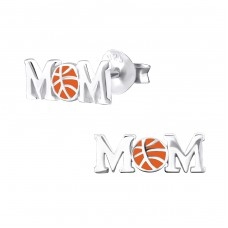Basketball Mom - 925 Sterling Silver Plain Ear Studs A4S29606