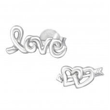 Love - 925 Sterling Silver Plain Ear Studs A4S29633