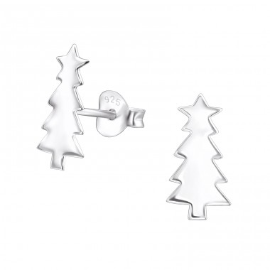 Christmas Tree - 925 Sterling Silver Plain Ear Studs A4S30231