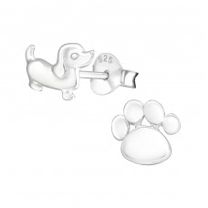 Dog And Paw Print - 925 Sterling Silver Plain Ear Studs A4S30237