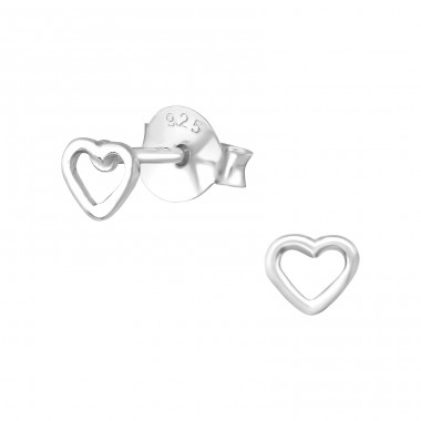 Heart - 925 Sterling Silver Plain Ear Studs A4S30243