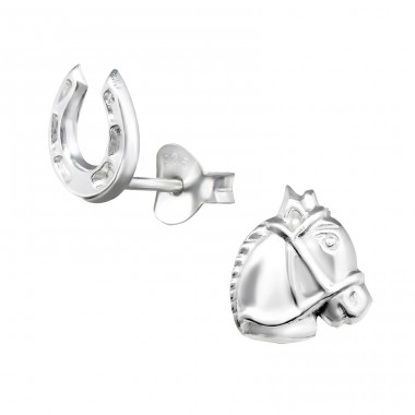 Horse & Horseshoe - 925 Sterling Silver Plain Ear Studs A4S30246