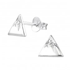 Peak of the mountain - 925 Sterling Silver Plain Ear Studs A4S30276