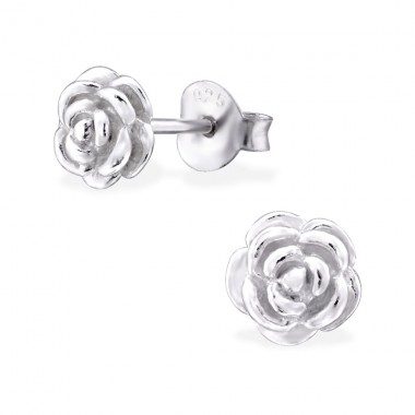 Rose - 925 Sterling Silver Plain Ear Studs A4S30431