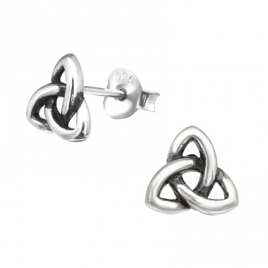 Celtic Knot - 925 Sterling Silver Plain Ear Studs A4S30573