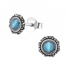Round - 925 Sterling Silver Plain Ear Studs A4S31234
