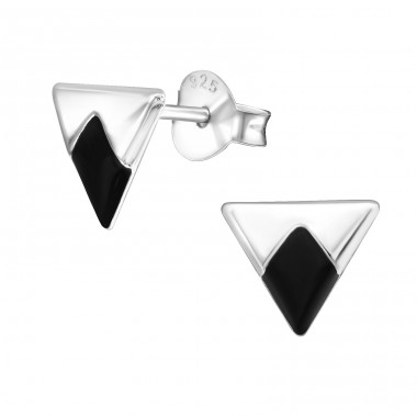 Triangle - 925 Sterling Silver Plain Ear Studs A4S31332