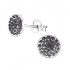 Oxidized - 925 Sterling Silver Plain Ear Studs A4S31426