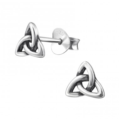Trinity Knot - 925 Sterling Silver Plain Ear Studs A4S31429