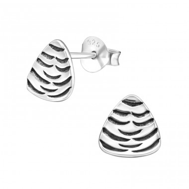 Cone - 925 Sterling Silver Plain Ear Studs A4S31604