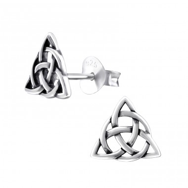 Celtic Knot - 925 Sterling Silver Plain Ear Studs A4S31607