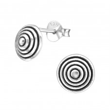 Round - 925 Sterling Silver Plain Ear Studs A4S31675