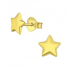 Star - 925 Sterling Silver Plain Ear Studs A4S3168