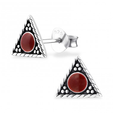 Triangle - 925 Sterling Silver Plain Ear Studs A4S31703