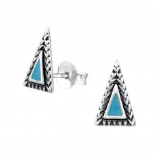 Triangle - 925 Sterling Silver Plain Ear Studs A4S31870