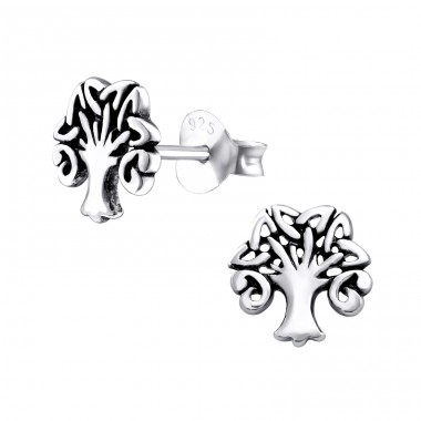 Celtic Tree Of Life - 925 Sterling Silver Plain Ear Studs A4S31891