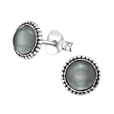Round - 925 Sterling Silver Plain Ear Studs A4S32470