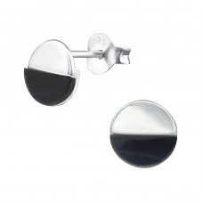 Round - 925 Sterling Silver Plain Ear Studs A4S32491