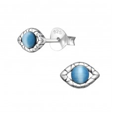 Evil Eye - 925 Sterling Silver Plain Ear Studs A4S32932