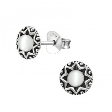 Star - 925 Sterling Silver Plain Ear Studs A4S33662