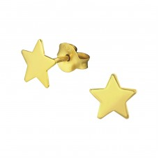 Star - 925 Sterling Silver Plain Ear Studs A4S34840