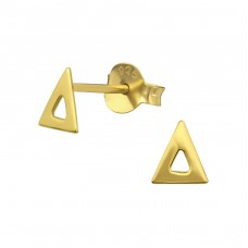 Triangle - 925 Sterling Silver Plain Ear Studs A4S35063