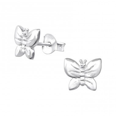 Butterfly - 925 Sterling Silver Plain Ear Studs A4S35176