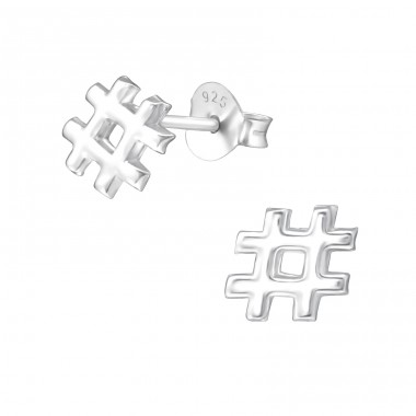 Hashtag - 925 Sterling Silver Plain Ear Studs A4S35401