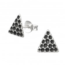 Triangle - 925 Sterling Silver Plain Ear Studs A4S35439