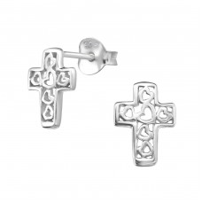 Cross - 925 Sterling Silver Plain Ear Studs A4S35632