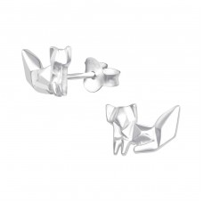 Origami Fox - 925 Sterling Silver Basic Silver Ear Studs A4S35849