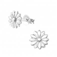 Flower - 925 Sterling Silver Plain Ear Studs A4S36114