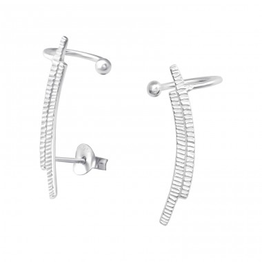 Silver Curved Ear Studs With Ear Cuff - 925 Sterling Silver Basic Silver Ear Studs A4S36115